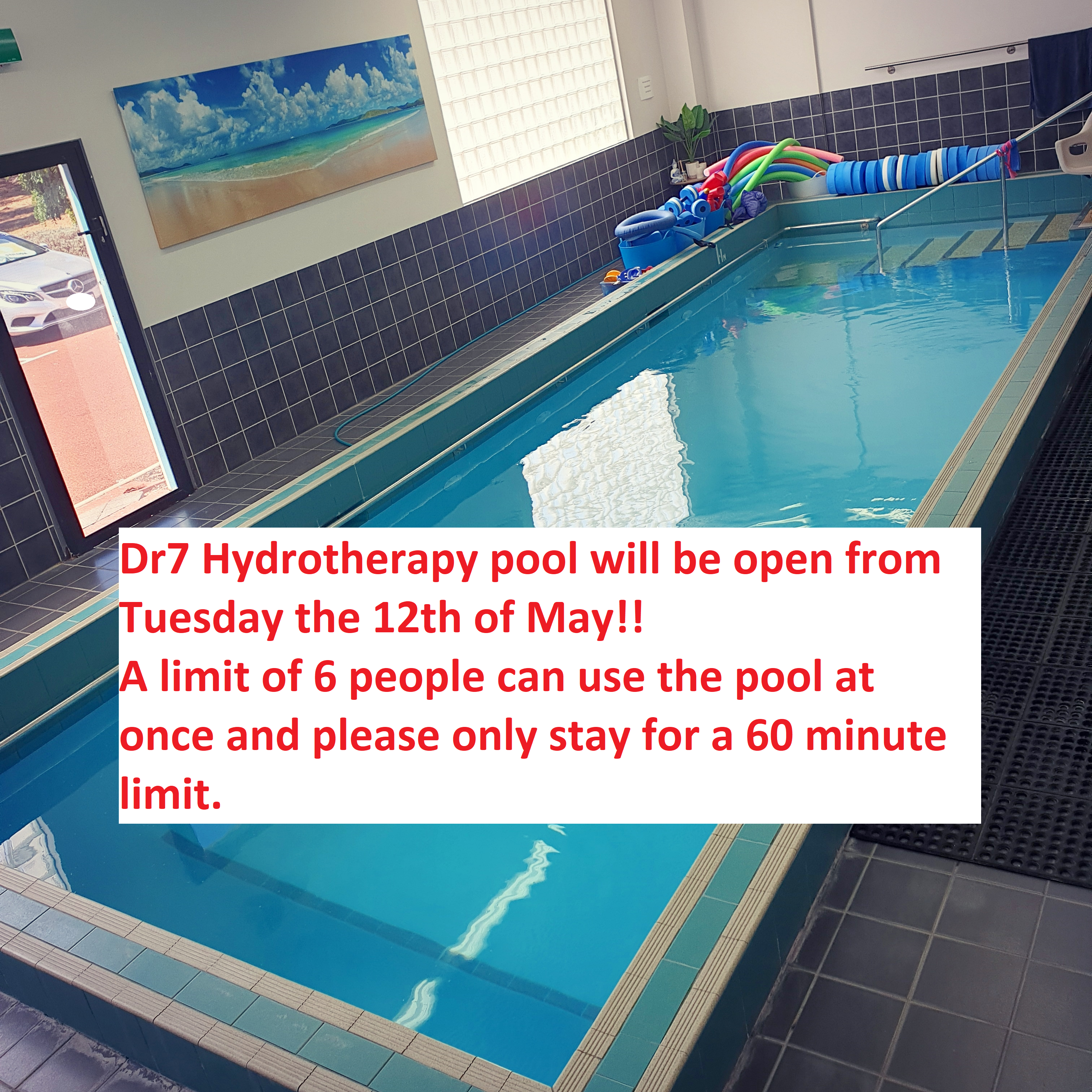 Dr7 Hydrotherapy pool is reopening to the public!